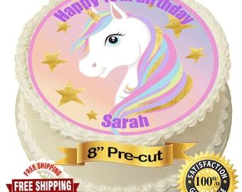 Edible rice paper  20cm round white unicorn cake topper