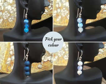 Crazy Agate Gemstone Tear Drop Pair of Dangle Fashion Statement Earrings with Silver Plated Hooks # 573