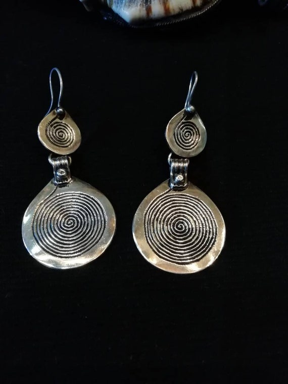 Unique silver Berber spiral earrings  from Morocco
