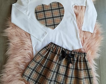 Girls Handmade Beige Tartan Check Skirt Top Ages 0-14 Years Christmas