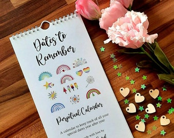Rainbow Style Perpetual Birthday / Dates to Remember Calendar -  Use Year After Year for Memorable Dates - originally hand painted
