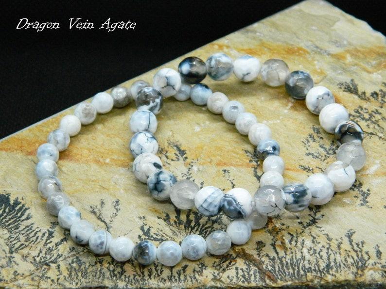 Gift for Him,Birthstone Jewelry,Mens Bracelet Dragon Vein Agate Bracelet,Beaded Bracelet Gift for Her Healing Bracelet Gemstone Bracelet