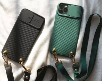 Mobile phone case with camera protection, camera lens protection mobile phone case for iPhone 6,7,8,X,12 Pro etc. , Kawaii mobile phone case, mobile phone case with chain