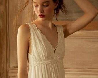 Women Vintage Sleepwear Vintage Style Chemise Wedding Gift fir Bride Bridesmaid Gift Lingerie Victorian Style Cotton White V Neck Nightgown