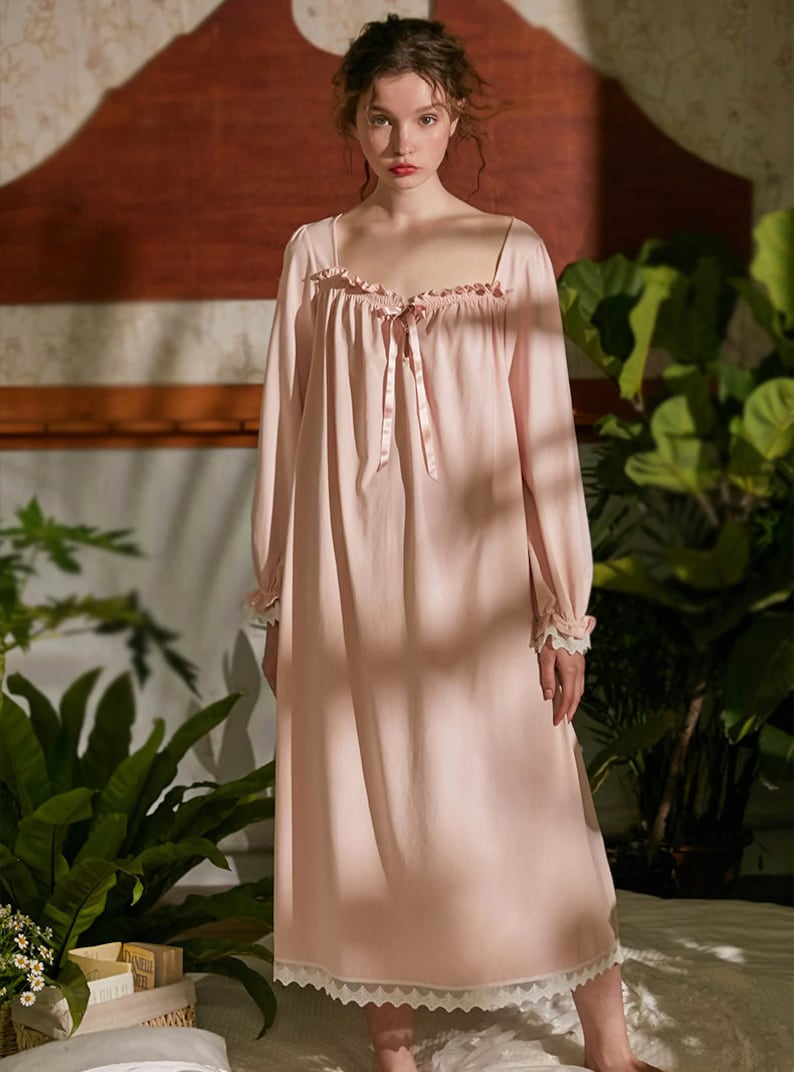 Victorian Nightgowns, Nightdress, Pajamas, Robes Victorian Vintage Cotton White Square Nightgown Victorian Chemise Women Long Vintage Sleepwear Loungewear Victorian Nightdress Nightgowns $112.84 AT vintagedancer.com