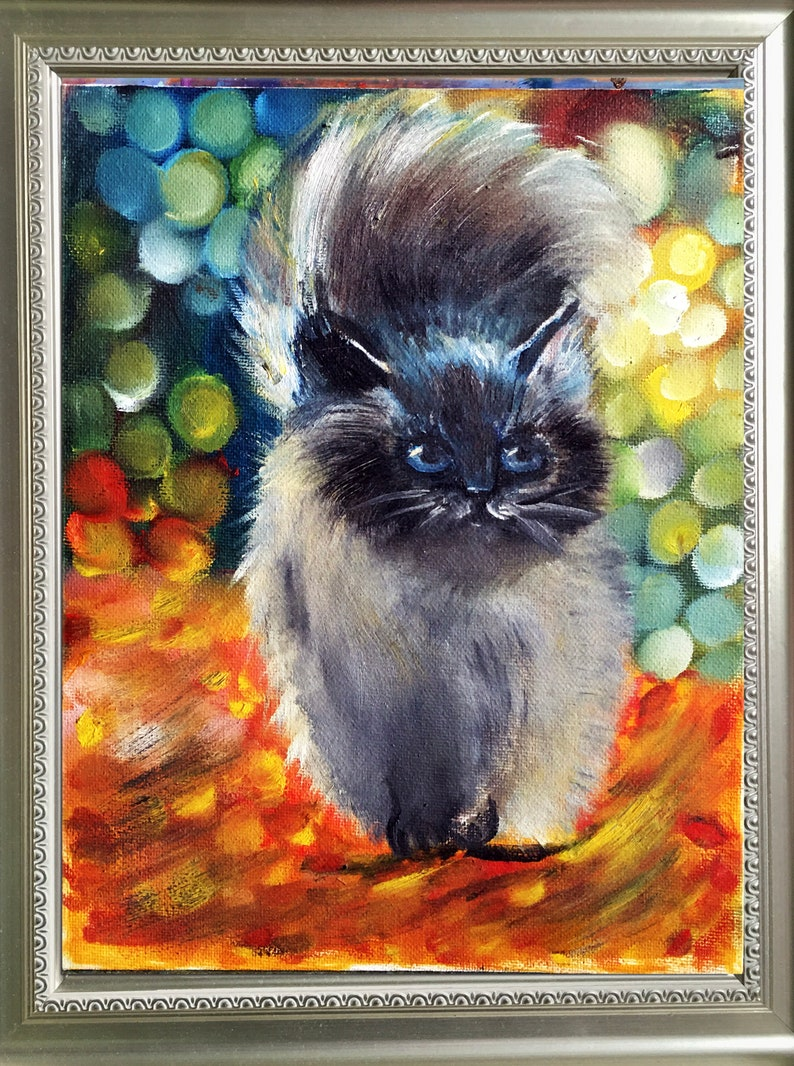 Cat Painting Original Painting Canvas Wall Art Pet Painting Oil Painting by Nataly Ovchinnikova