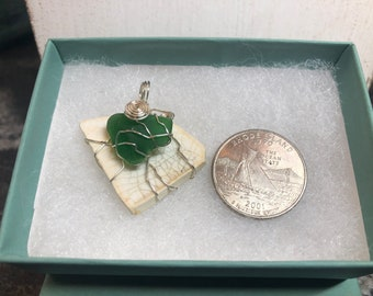 RI Sea Glass and Pottery Shard copper, wirewrapped pendant. Winking Good! From the Winking Cottage.