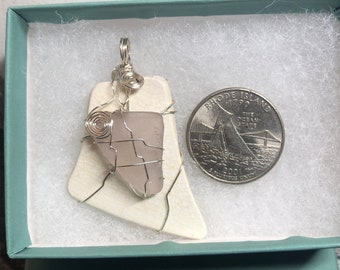 Lavander sea glass and pottery shard pendant, made in Rhode Island, with genuine RI, silver coated wire-wrapped, and reversable.