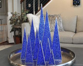Sapphire Glass Tabletop Tree