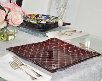 Ruby Red Glass Diamond Grid Square Plate / Charger
