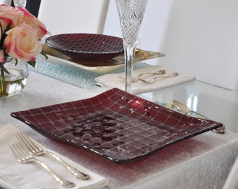 Ruby Red Bubble Grid Fused Glass Plate