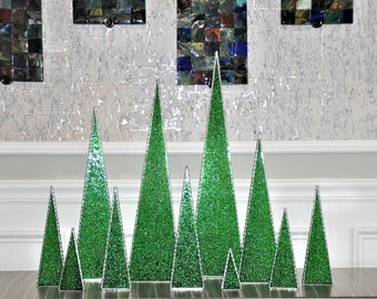 Glass Tabletop Tree - Green Just Added! Made to order.