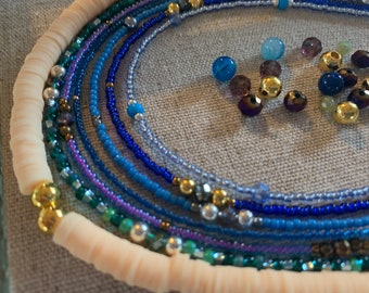 Beaded Mask Chain Glass /& Crystal Beads Face Mask Style Attach to Face Mask Turquoise Blue Picasso Miyuki Mask ChainBraceletNecklace