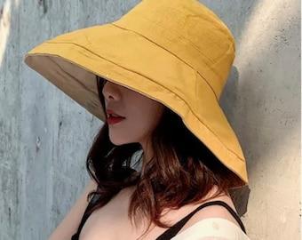 Wide Brim Summer Hat , Beach Hat, Bucket Hat , Korean Beach Hat, Harajuku
