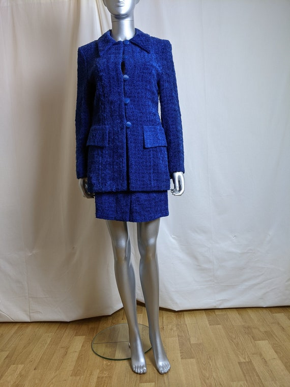 Vintage 1990s soft boucle wool blend skirt and bla