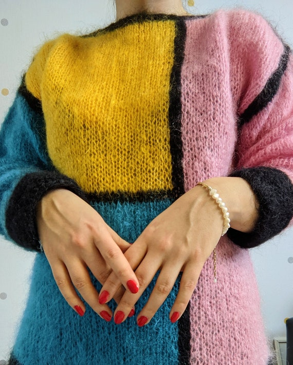 Vintage hand knitted abstract mohair jumper