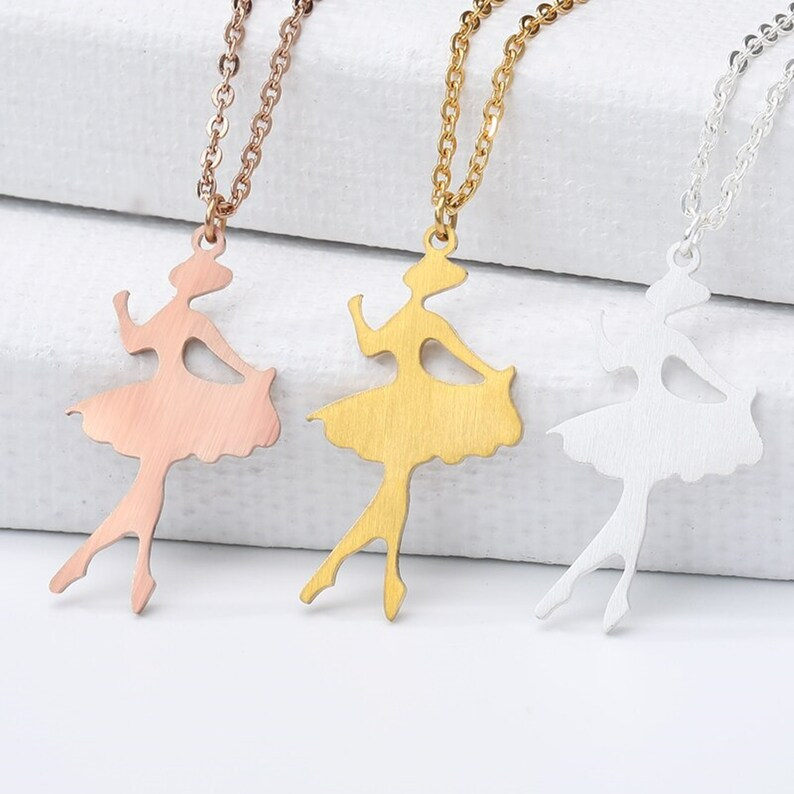 Tiny Dancer Pirouette Ballerina Girl Shape Necklace For Women Minimal Jewelry Stainless Steel Rose Gold Ballet Necklace Collares