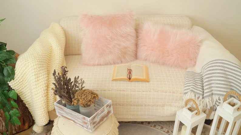 Pink faux fur pillow cover,Cute pillow,Fuzzy pillow,Cozy pillow,Home decoration,Gift,70/'s