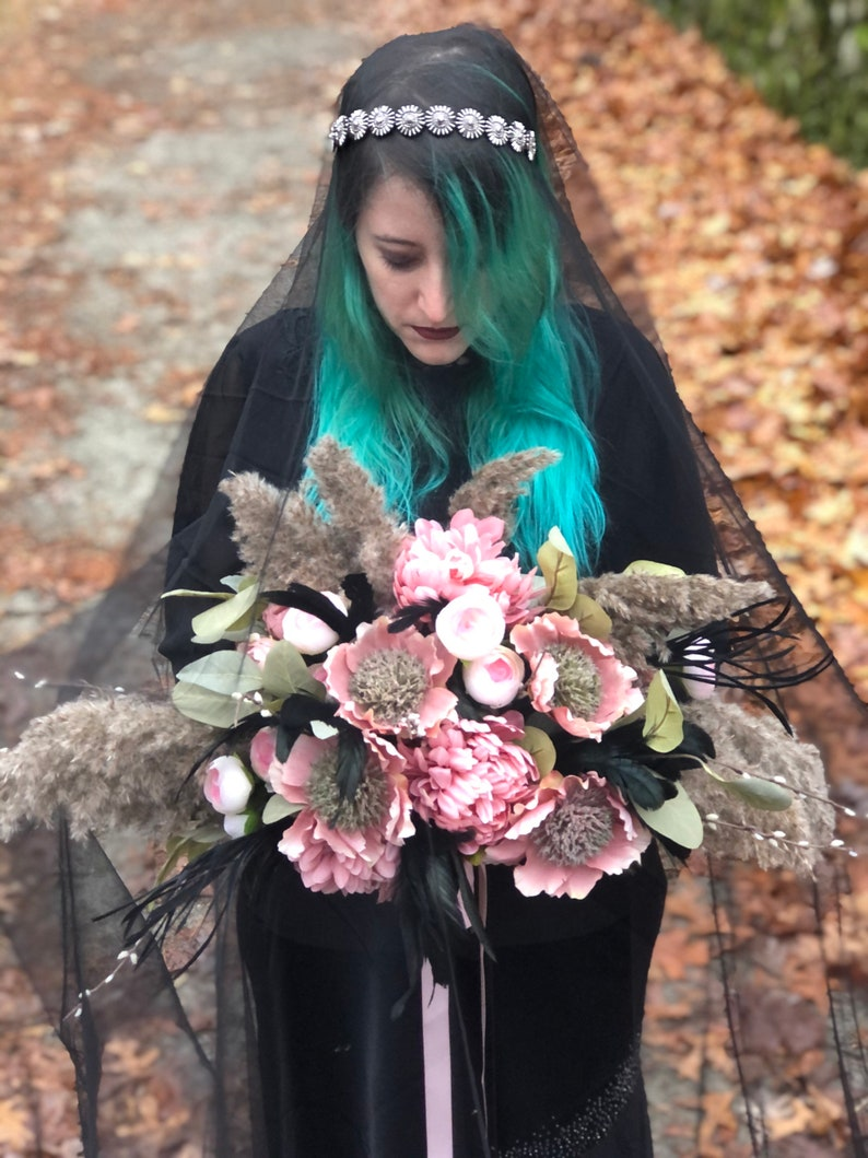 pink flowers gothic hand wrapped pampas grass nature black feathers pussy willow Willow Bridal Bouquet