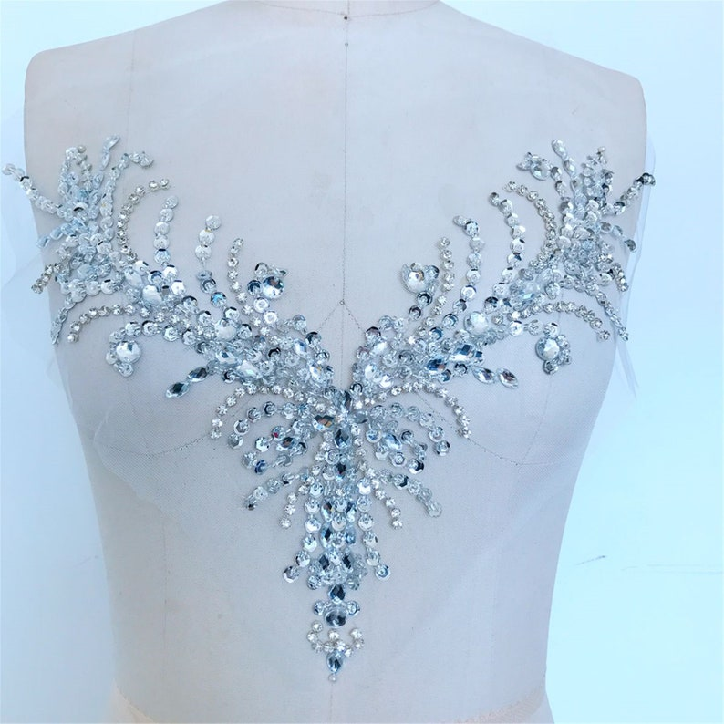 Wedding Dress Patch Sell By The Piece Rhinestone Applique High Quality Handmade 3D Beaded Applique Shiny Sequin Applique