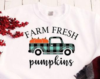 Farm Fresh Pumpkins Shirt, Fall Sweater, Pumpkin  Sweatshirt, Gifts for Women, Autumn Shirt, Farmhouse Shirt, Women's Sweaters