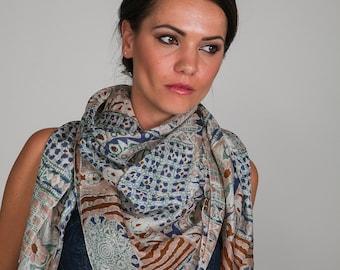 Pure Natural Silk Scarf - print design