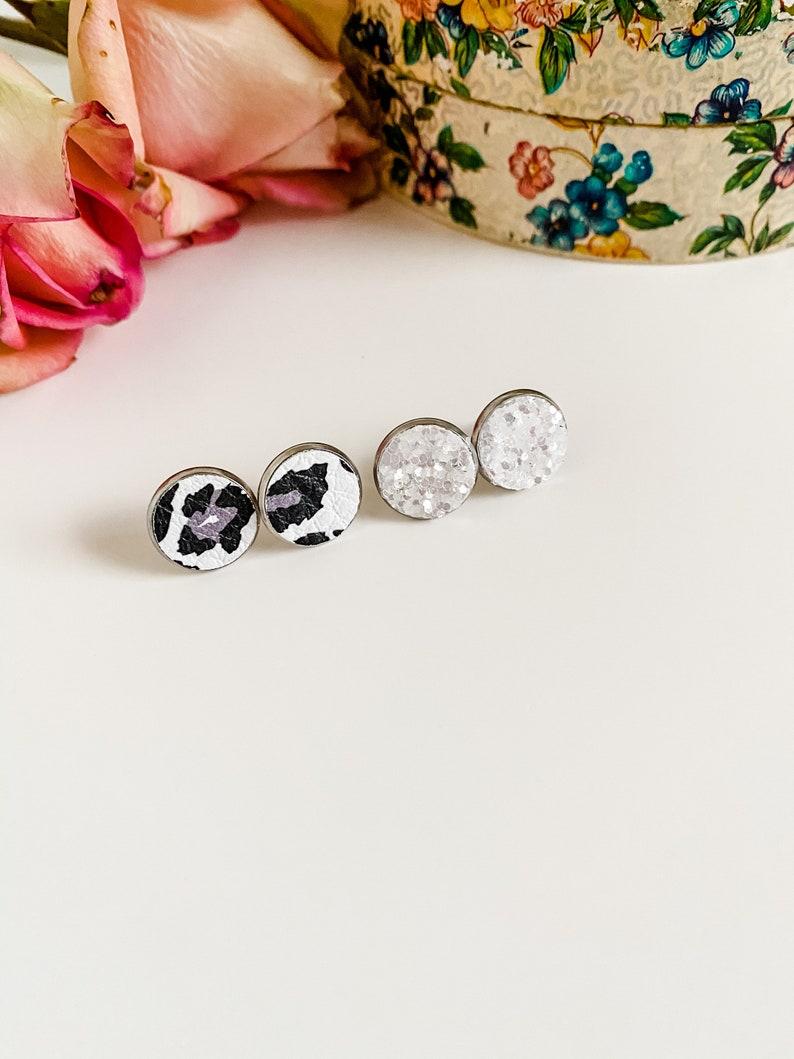 Black Gray White Leopard Print Leather Stud Earring Set White Glitter silver post earrings