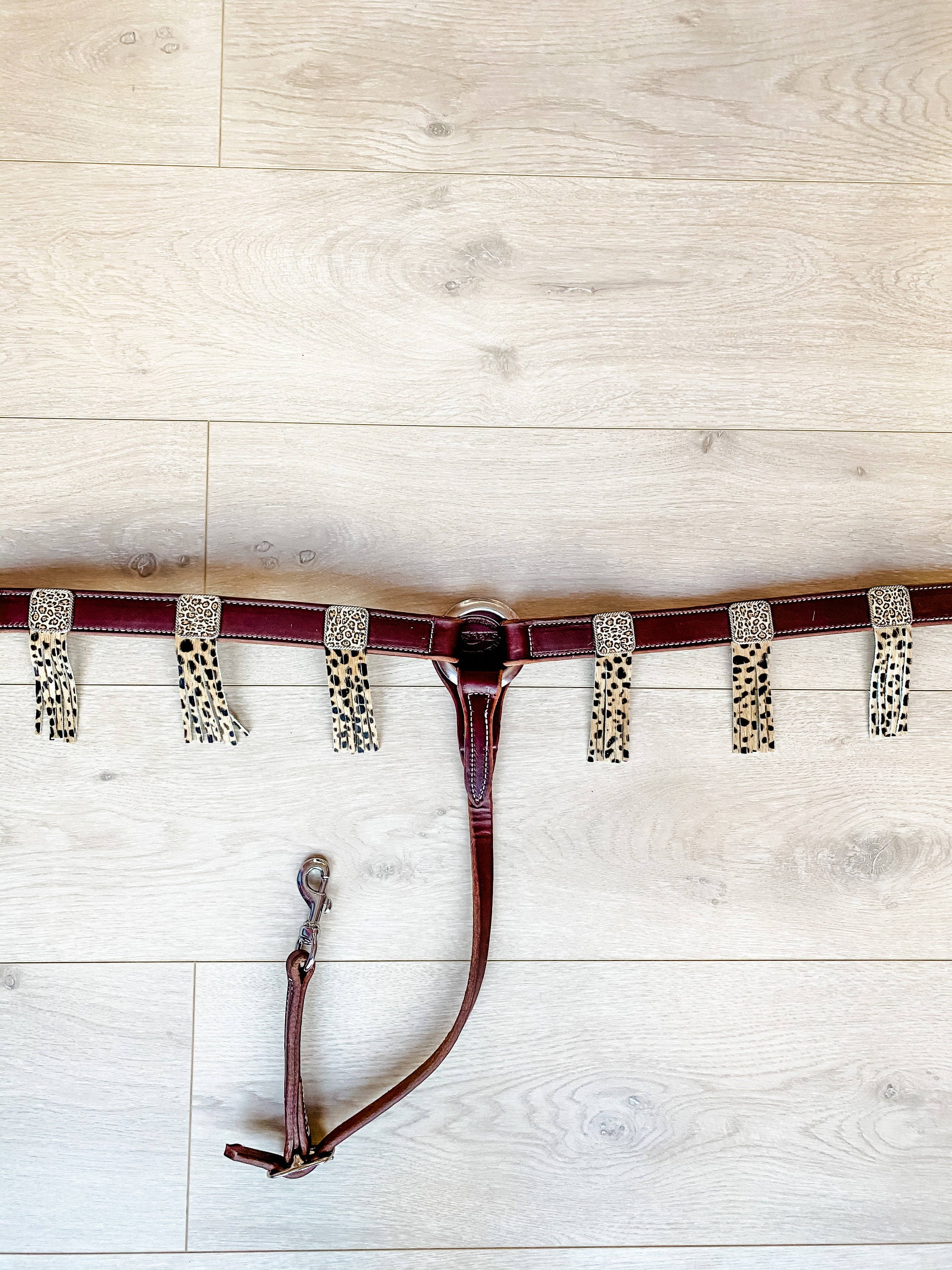 The Bling Cheetah Western Leather Breast Collar, bling conchos and cheetah hair on hide fringes