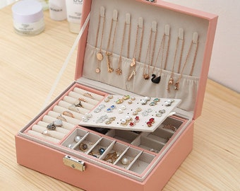 Portable Travel Jewelry Box Organizer Case for Rings Earrings Necklaces Storage Free Shipping