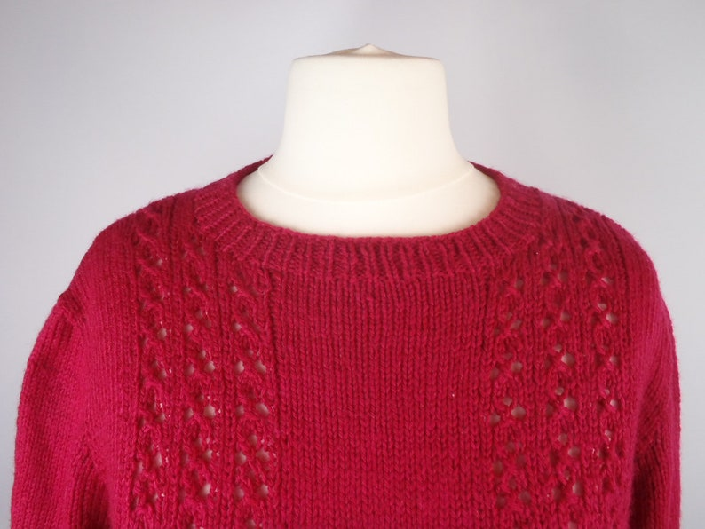 Vintage 1970s Cherry Red Cable Knit Lace Pattern Wool  Silk Hand Knitted Crew Neck Jumper