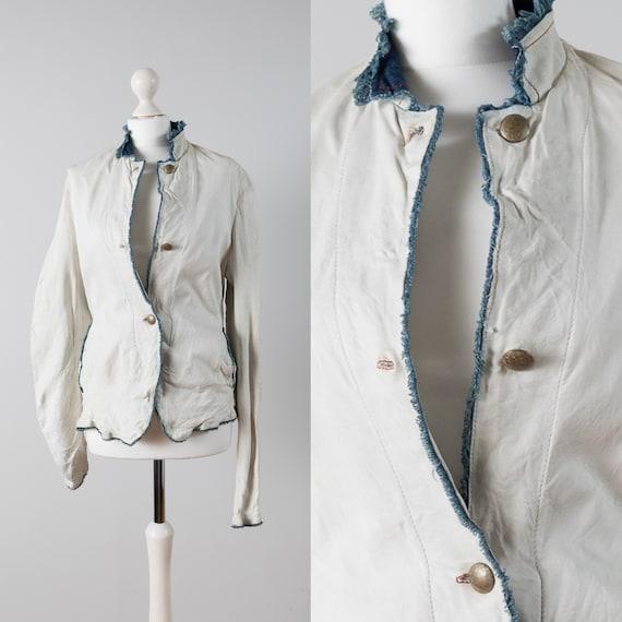 White Vintage Leather Jacket