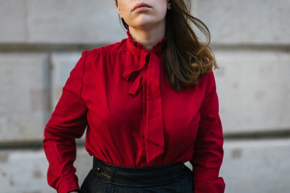 fall 2020 shirt red button up Vtg Maroon Ruched Shirt cropped holiday retro 90s work from home