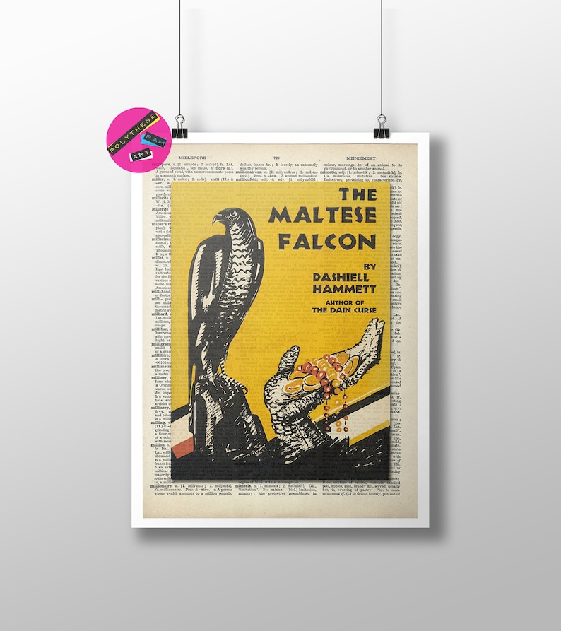 Art The Maltese Falcon by Dashiell Hammett Poster Gift First Edition Cover Crime Fiction Book Dictionary Print: Classic Novel Fan