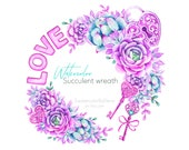 Watercolor succulent wreath clipart. Valentines day frame PNG. Digital download.