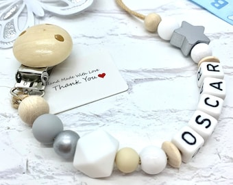 Personalised Baby Dummy Clip Pacifier Chain Soother Holder Cute Baby Shower Christening Gift Wooden Silicone Clips