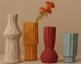 Morandi ORIGAMI modern Minimalist vase, Handmade Ceramic Vase, Minimalist Decor,Plant Pot,Flower vase, Home decor, Air Plant Pot,moving gift