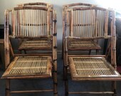 Set Of 4 Bamboo And Cane Folding Chairs