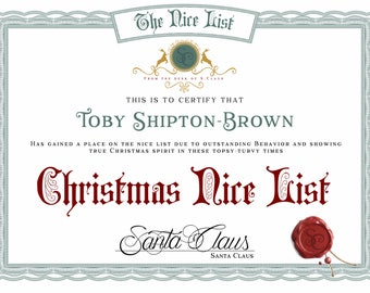 Personalised Christmas Hamper-Elf-Nice liste-Enfants-Pôle Nord-Santa