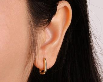 Rectangle hoop earrings-Sterling Silver oblong huggie hoops-small square huggie earrings-U shape dainty earrings,simple plain trendy hoops