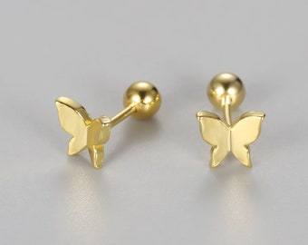 20g sterlings sliver tiny butterfly cartilage stud earrings, helix stud screw back, tragus conch earring, small stud, minimalist dainty stud