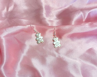Silver bears with flowers earrings with Sterling silver hook