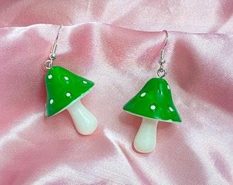 Green mushroom earrings with Sterling silver hook