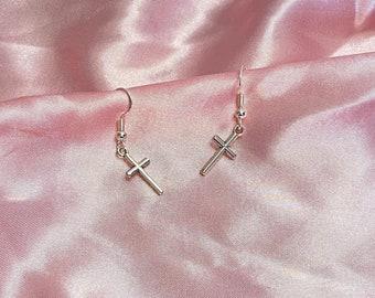 Silver crosses earrings with Sterling silver hook