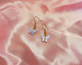 Gold and purple butterfly earrings