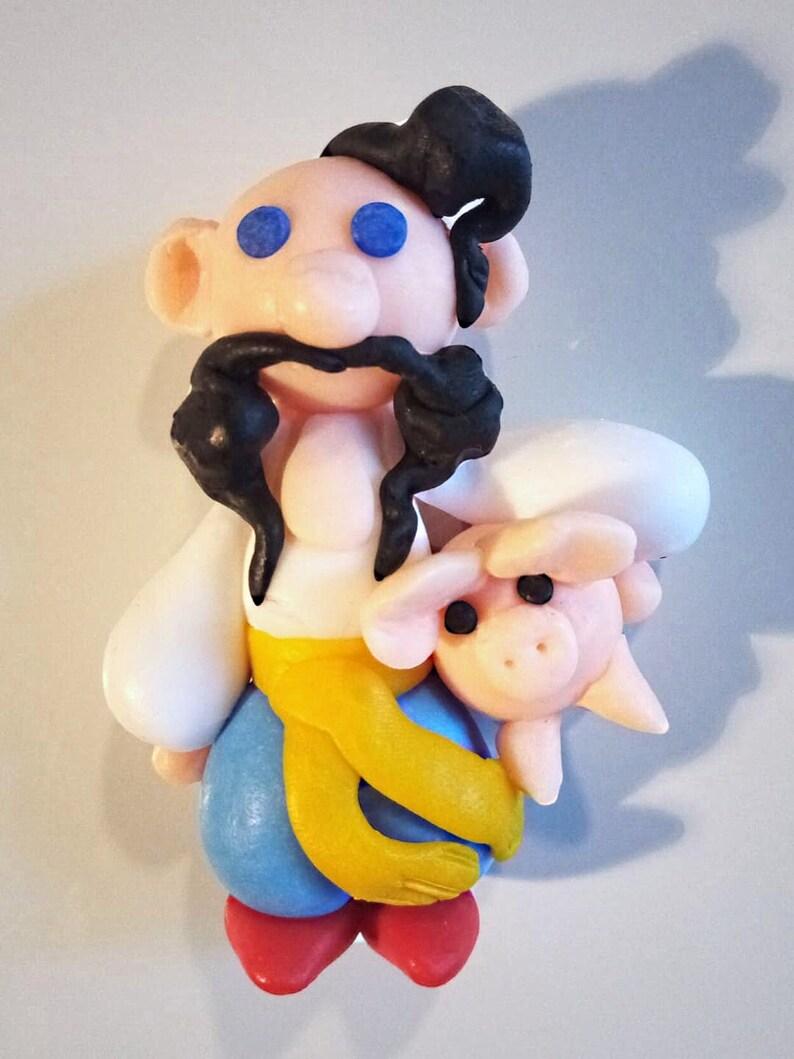 magnet craft Kozak/_Homme ukrainien/_cochon/_Paysan/_Figurine for r\u00e9frig\u00e9rateur/_P\u00e2te polym\u00e8re/_Fridge magnets