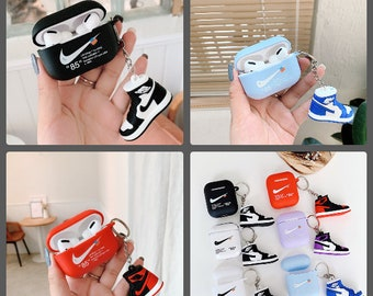 nike Sport style Hype beast AJ Sneaker Silicone AIRPOD 1/2 & PRO Case Shock Proof Protective Cover with Mini Shoe and/or lanyard