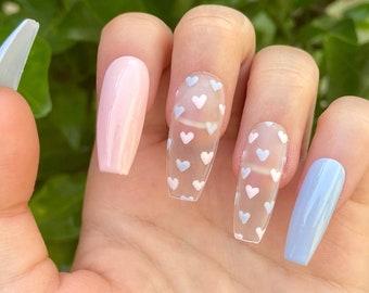 Heart Nails Etsy