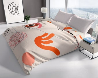 Pattern With Eye, Lines, Dots And Decorative Leaves Designy Duvet Cover - Modern Duvet Covers