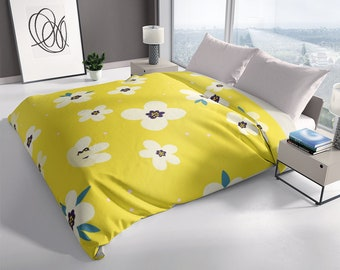 Small Flowers on Yellow Green Modern Duvet Cover
