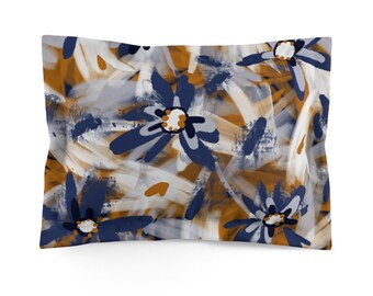 Abstract Floral Pattern With Large Daisies Pillow Sham